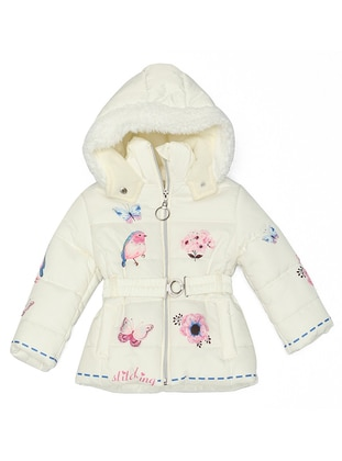 Multi - Polo neck -  - White - Navy Blue - Girls` Coat - Nanica Kids