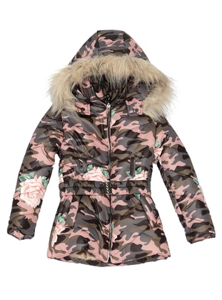 Multi - Polo neck -  - Pink - Girls` Coat - Nanica Kids