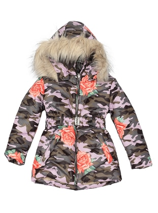 Multi - Polo neck -  - Salmon - Girls` Coat - Nanica Kids