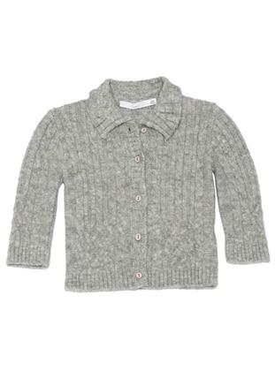 Point Collar - Acrylic - Unlined - Gray - Girls` Cardigan