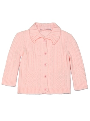 Point Collar - Acrylic - Unlined - Pink - Girls` Cardigan