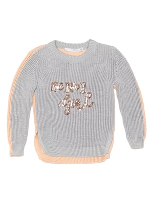 Crew neck - Acrylic -  - Unlined - Gray - Girls` Pullovers