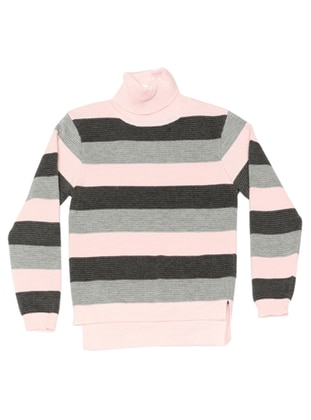 Stripe - Polo neck - Acrylic -  - Unlined - Pink - Girls` Pullovers