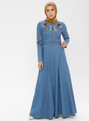 Blue - Polo neck - Unlined - Denim -  - Dress