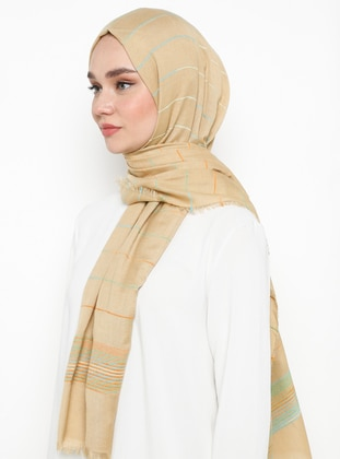 Camel - Plain -  - Shawl