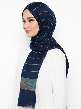 Navy Blue - Plain -  - Shawl