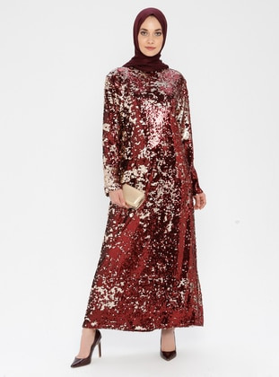 Maroon - Gold - Fully Lined - Crew neck - Muslim Evening Dress