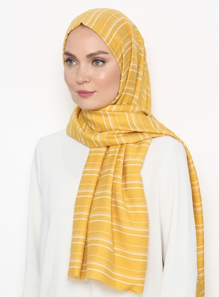 Yellow - Striped - Viscose - Shawl