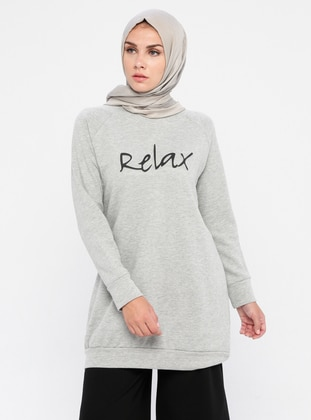 - Crew neck - Gray - Tunic