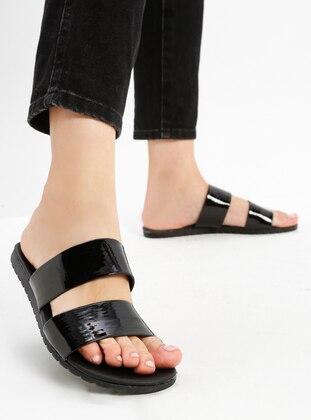 Black - Sandal - Slippers - Ayakkabı Havuzu