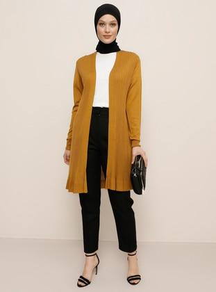 Yellow - Shawl Collar - Acrylic -  - Viscose - Cardigan - Refka