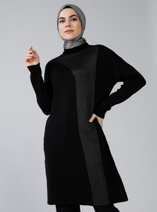 Black - Polo neck - Acrylic -  -  - Jumper - Refka