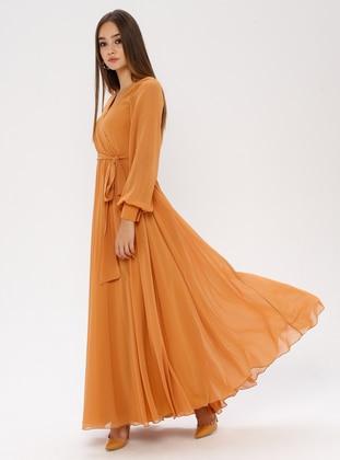 Mustard - V neck Collar - Fully Lined - Dress