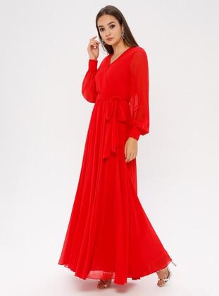 Red - V neck Collar - Fully Lined - Dress
