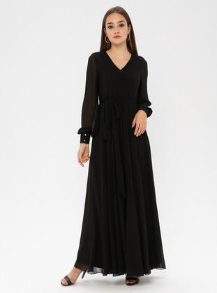 Black - V neck Collar - Fully Lined - Dress