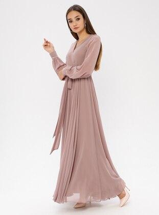 Mink - V neck Collar - Fully Lined - Dress