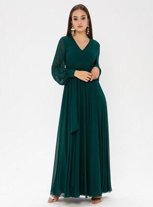 Emerald - V neck Collar - Fully Lined - Dress