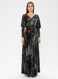 Blue - Multi - V neck Collar - Fully Lined - Dress