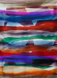 Navy Blue - Printed - %100 Silk - Satin - Scarf