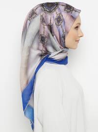 Multi - Blue - Printed -  - Scarf