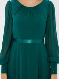 Green - Emerald - Crew neck - Fully Lined - Dress