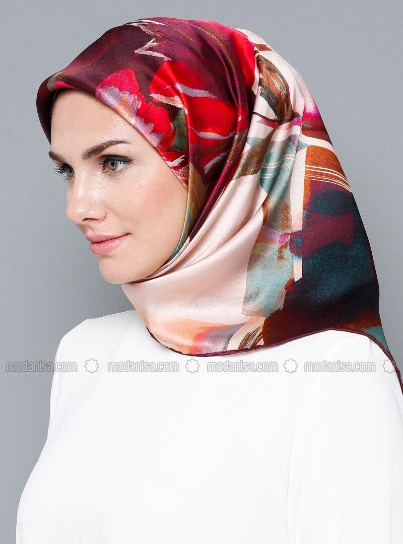 Multi - Floral - %100 Silk - Satin - Scarf
