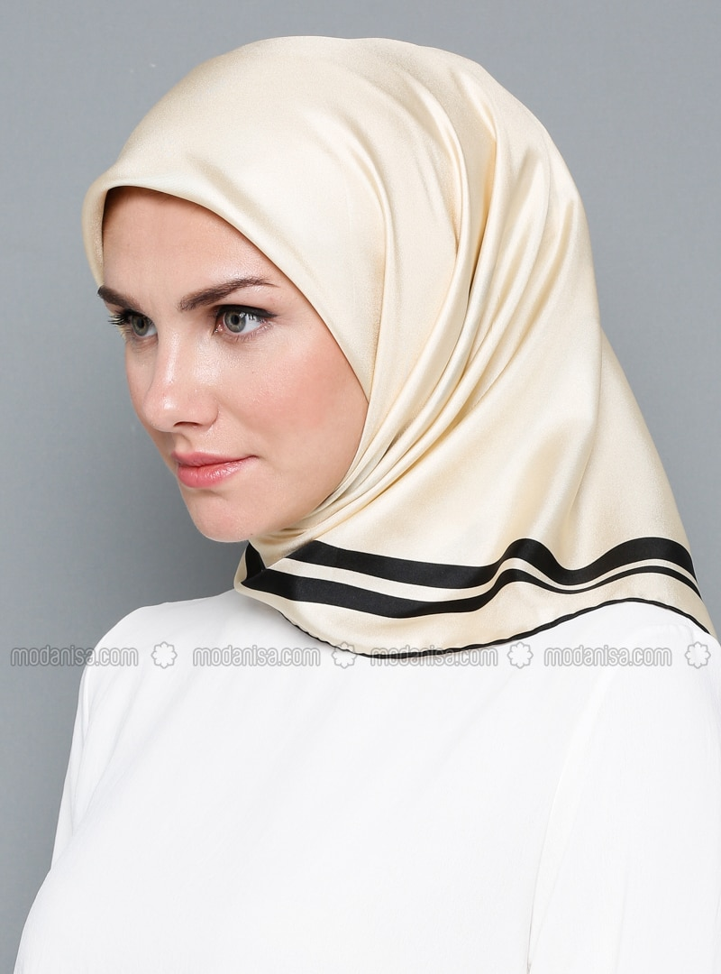 Cream - Patterned Side - %100 Silk - Satin - Scarf