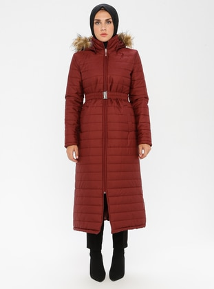 Maroon - Unlined - Polo neck - Puffer Jackets