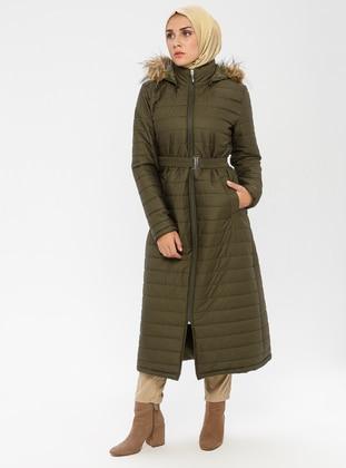 Khaki - Unlined - Polo neck - Puffer Jackets