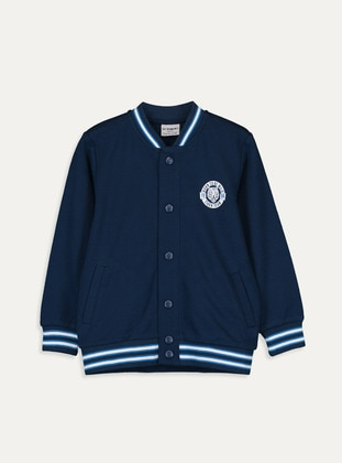 Printed - Navy Blue - Boys` Cardigan