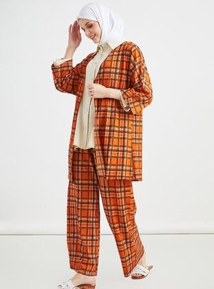 Orange - Multi - Unlined - Suit