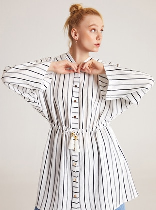 White - Stripe - Unlined -  - Trench Coat