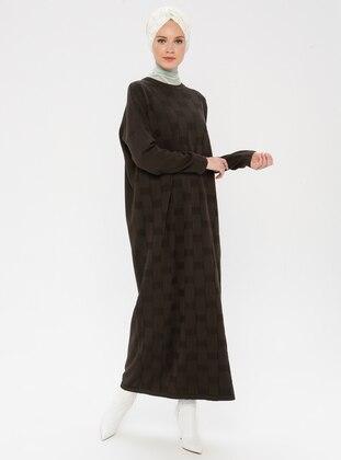 Khaki - Crew neck - Unlined - Acrylic -  - Dress