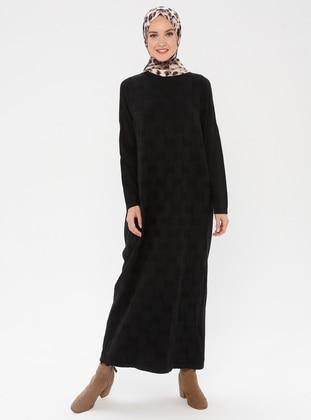 Black - Crew neck - Unlined - Acrylic -  - Dress