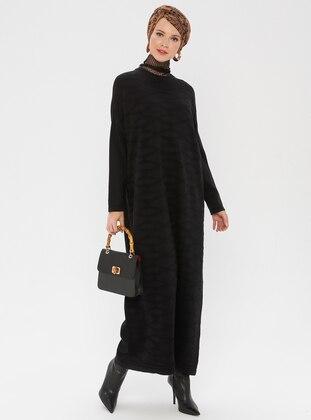 Black - Crew neck - Unlined - Acrylic -  - Dress
