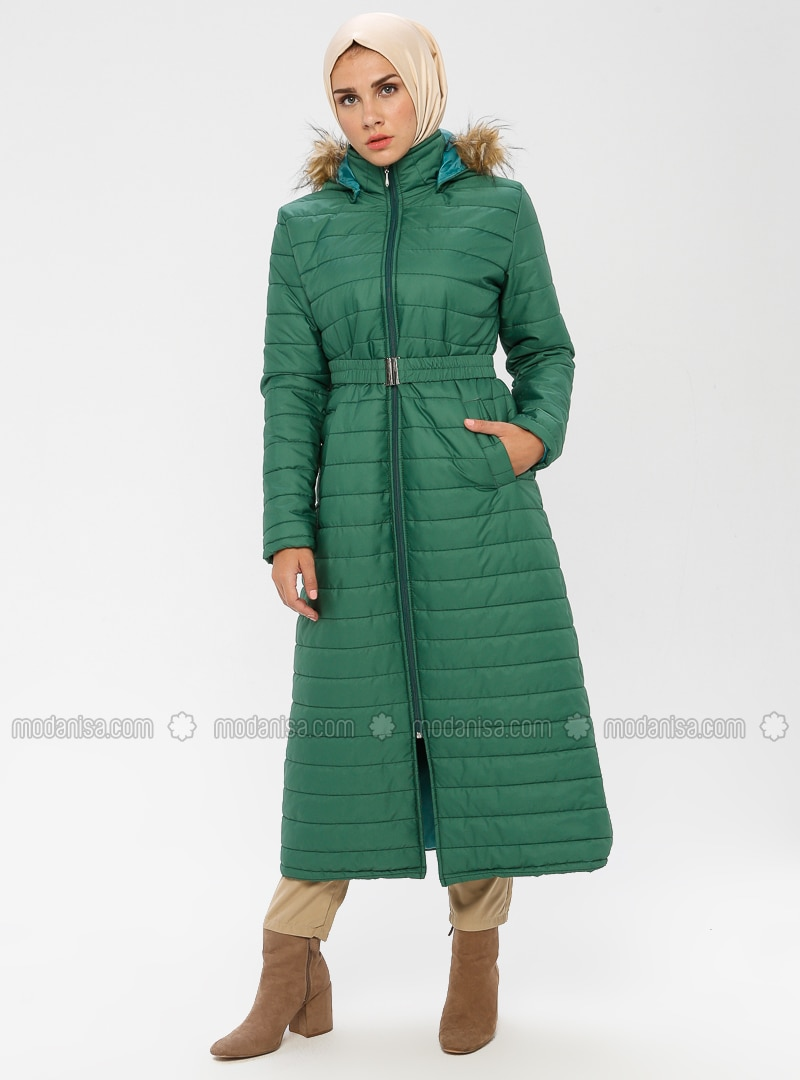 Green - Unlined - Polo neck - Puffer Jackets