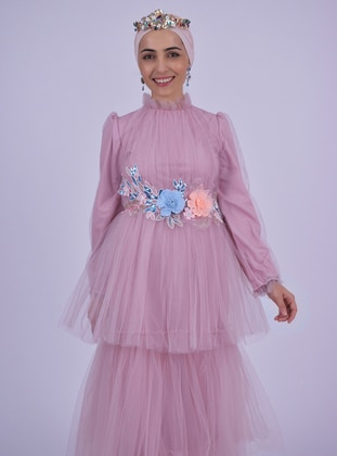 Dusty Rose - Pink - Fully Lined - Crew neck - Muslim Evening Dress
