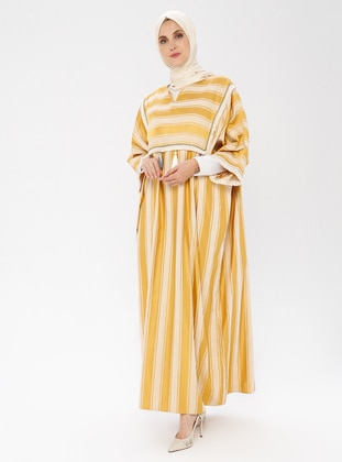 Yellow - Stripe - Crew neck - Unlined - Dress