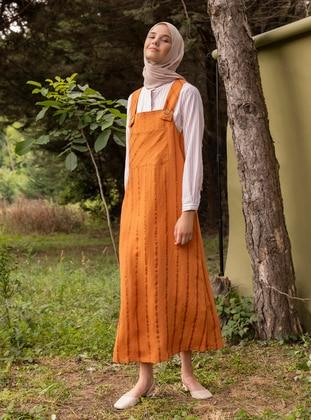 Terra Cotta - Stripe - Unlined - Sweatheart Neckline - Viscose - Jumpsuit