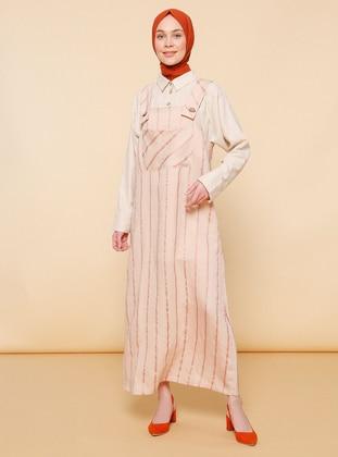 Powder - Stripe - Unlined - Sweatheart Neckline - Viscose - Jumpsuit