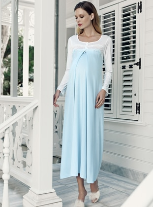 Blue - Crew neck -  - Viscose - Nightdress