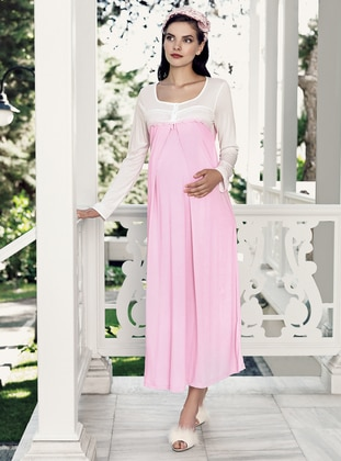 Pink - Crew neck -  - Viscose - Nightdress - Artış Collection