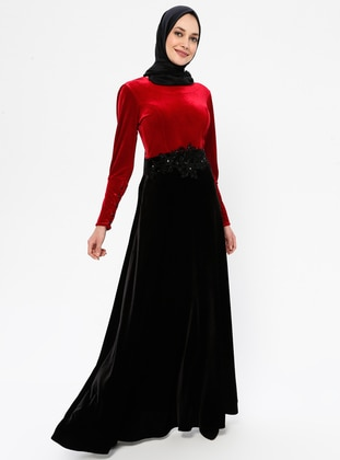 Red - Black - Unlined - Crew neck - Rayon - Muslim Evening Dress