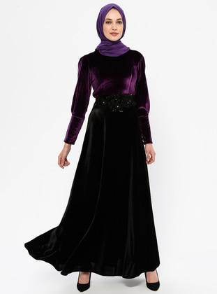 Plum - Black - Unlined - Crew neck - Rayon - Muslim Evening Dress