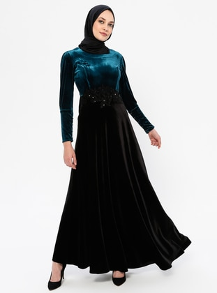 Black - Green - Unlined - Crew neck - Rayon - Muslim Evening Dress