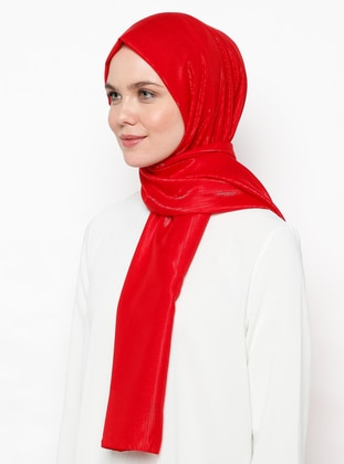 Red - Plain - Acrylic - Shawl