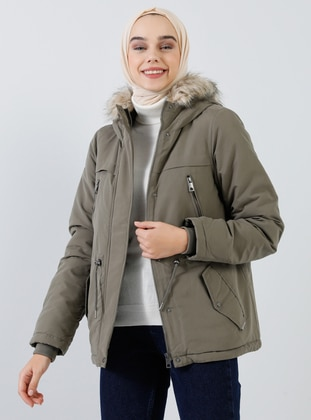 Khaki - Fully Lined - Polo neck - Puffer Jackets
