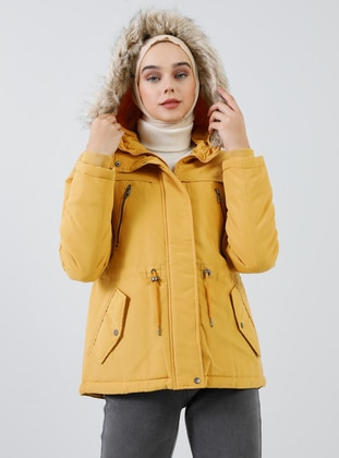 Yellow - Fully Lined - Polo neck - Puffer Jackets