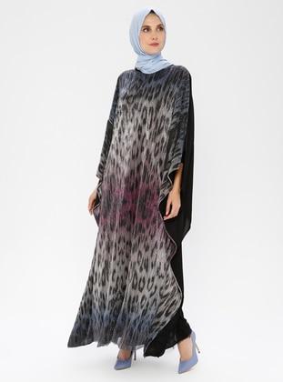 Black - Leopard - Crew neck - Unlined - Dress