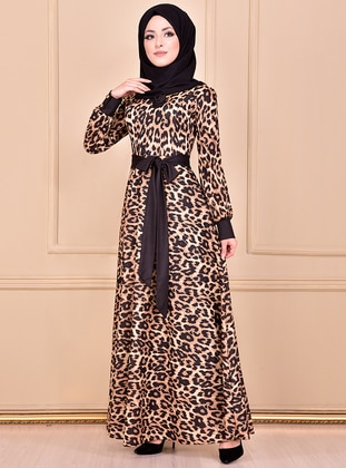 Black - Leopard - Crew neck - Unlined - Dress - AYŞE MELEK TASARIM